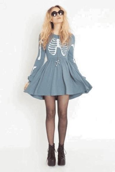 baby blue blue dress skater dress soft grunge grunge skeleton pattern long sleeve dress dress light blue skeleton hipster