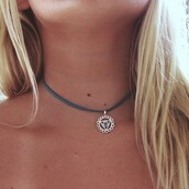 jewels,blue,necklace,tumblr,circle,triangle,laminate,urban outfitters,choker necklace,indie,hippie,hipster,festival,summer
