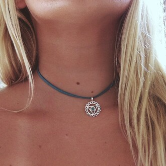 jewels blue necklace tumblr circle triangle laminate urban outfitters choker necklace indie hippie hipster festival summer