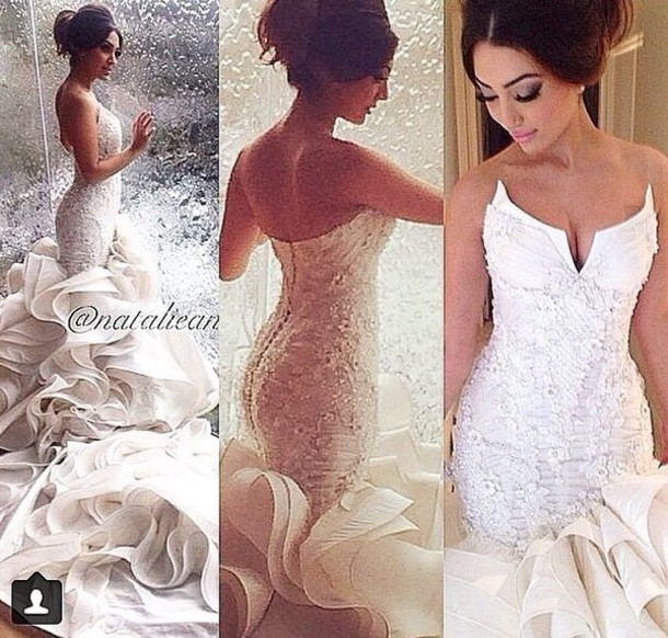 dress wedding dress ruffle romper dress white dress mermaid wedding dress mermaid prom dress