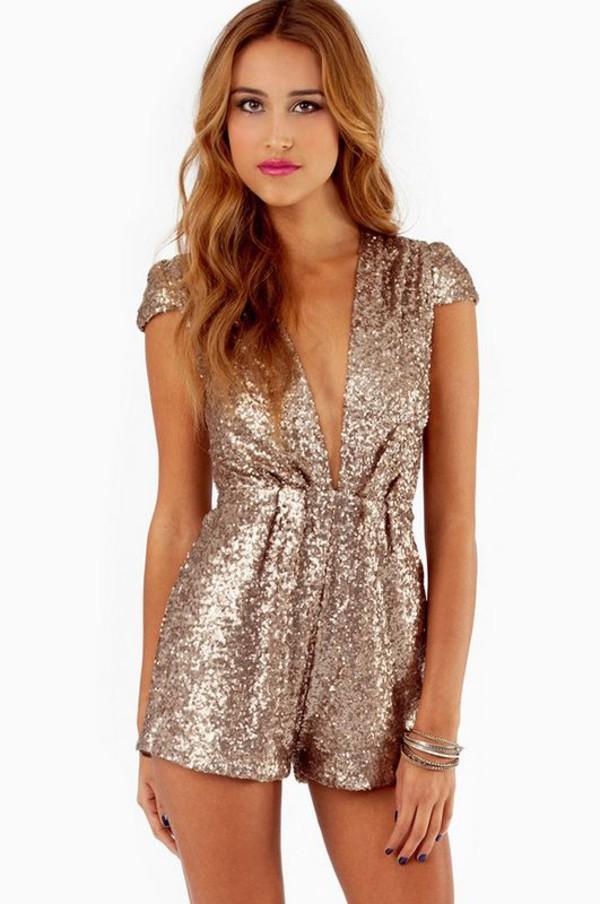 romper sequins gold sequins