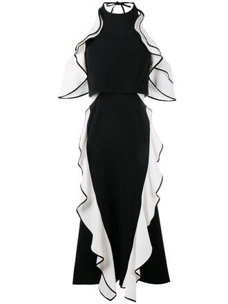 dress ruffle dress ruffle women spandex cold black