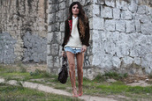 madame rosa,jacket,shorts,sweater,shoes,shirt,bag
