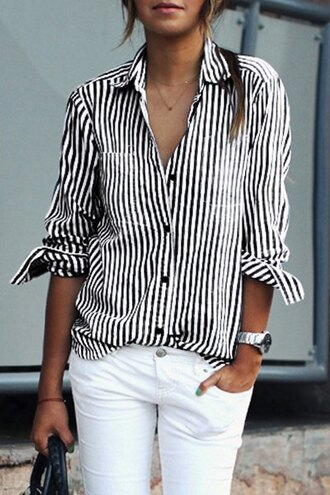 blouse black and white long sleeves trendy fashion style casual classy zaful