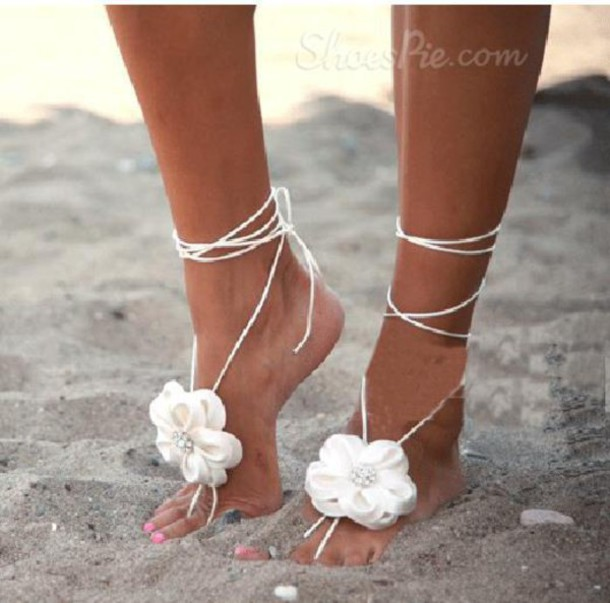 Shoes Sandals Jewelry Floral Lace Chrochet Beach