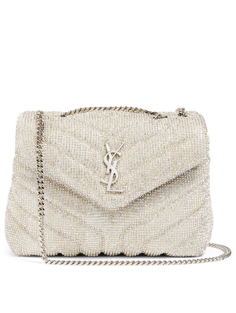SAINT LAURENT Loulou YSL Monogram Silk Bag With Crystals