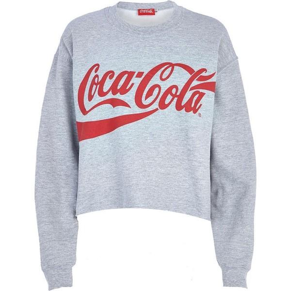 River Island Grey Coca Cola print cropped sweatshirt - Polyvore