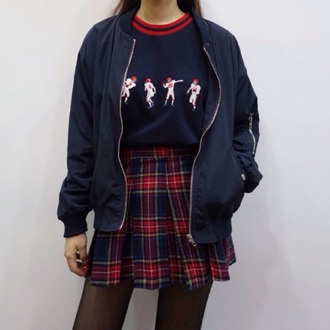 shirt outfit sweater vintage winter outfits cute top tumblr tumblr aesthetic aesthetic korean fashion plaid plaid skirt miniskirt skirt jacket football cute