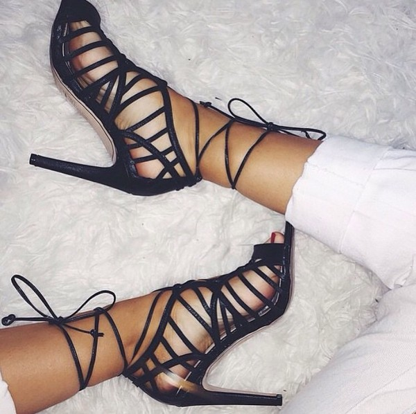 f40b96b9506 Office Popsicle Ghillie Lace Strappy Heel Black - High Heels