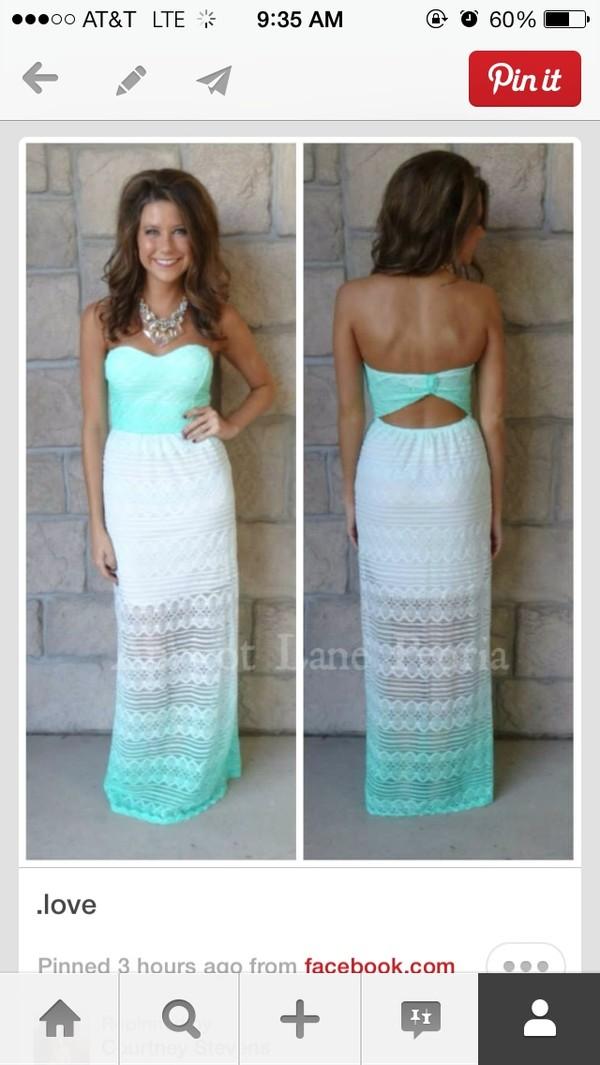 dress blue ombré white maxidress mint & white strapless maxi white white dress cute white and mint ombré strapless dress