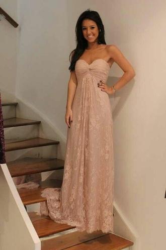 dress pink dress lace dress strapless dress lace maxi dress sweetheart neckline sweetheart dresses bridesmaid blush dress cute dress