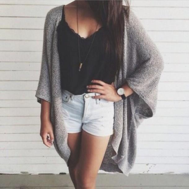 Black Singlet Outfits Cardigan Black Singlet Grey