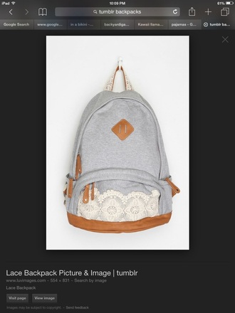 bag grey lace bookbag lace book bag