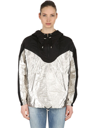 metallic silver black coat