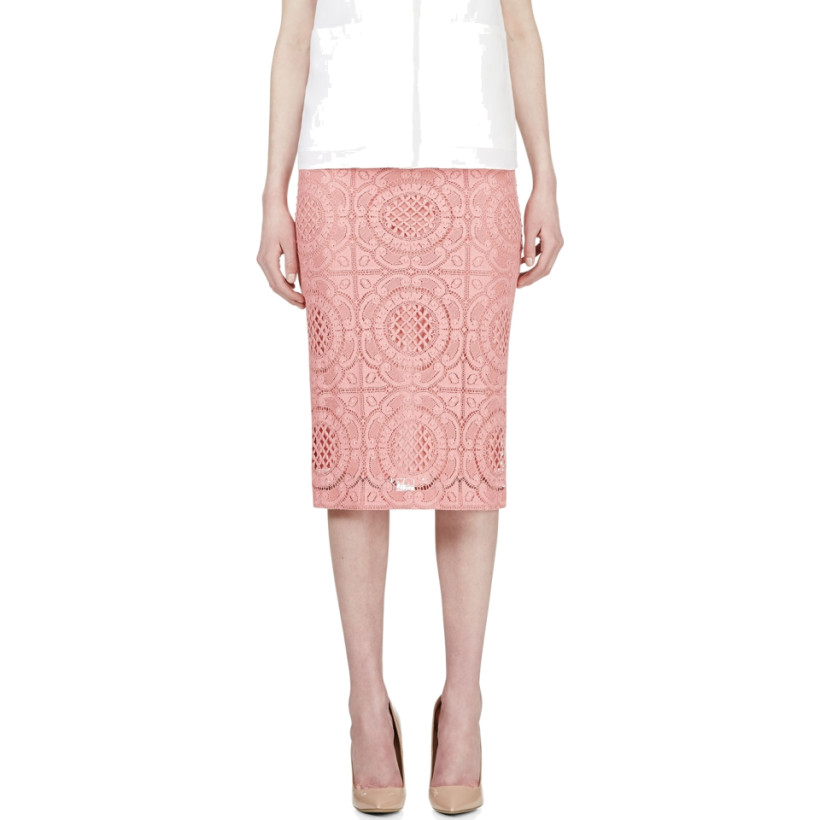 Burberry Prorsum - Pink Lace Overlay Pencil Skirt | SSENSE