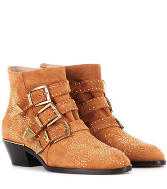 Chloe suede ankle boots studded ankle boots suede brown shoes