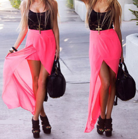 summer skirt long skirt neon pink neon pink