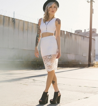 white skirt swag see through skirt white top two-piece stylemoi streetstyle