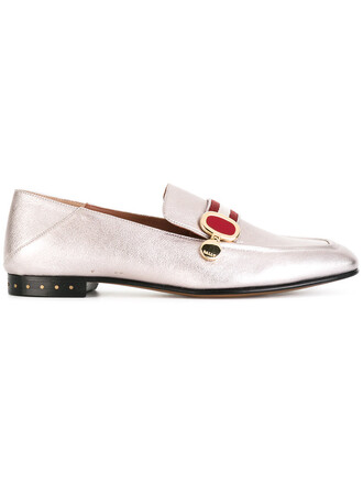 women slippers leather grey metallic shoes