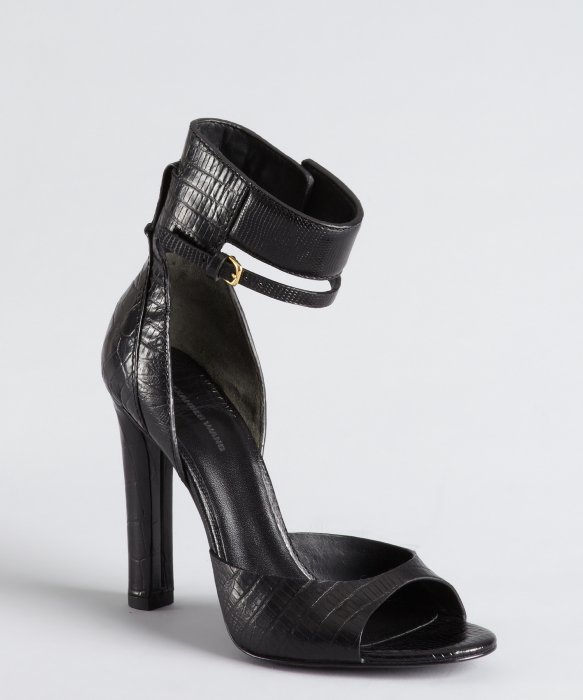 Alexander Wang black crocodile embossed leather ankle cuff 'Aminata' sandals | BLUEFLY up to 70% off designer brands