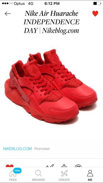 shoes customized nike huaraches nike nikeshoe huarache red nike running shoes