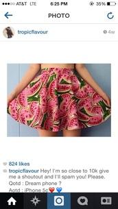 skirt,watermelon dress,fruity,fruit flavor,tumblr girl,tumblr outfit