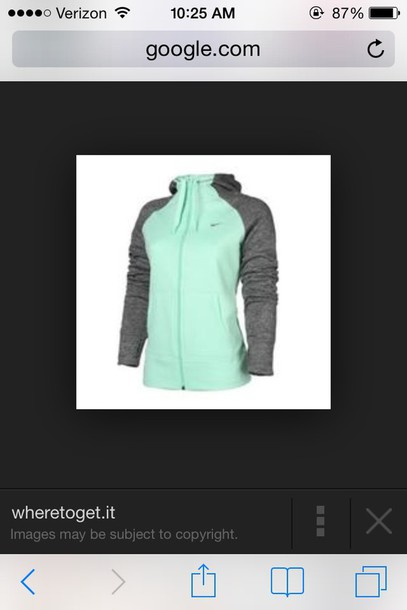 jacket grey and turquoise nike jacket