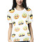 White emoji print slim casual tee top