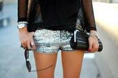shorts,glitter,mini,sparkle,silver shorts,clutch,black clutch,Sequin shorts,sequins