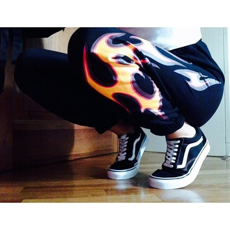 pants flames fashion vans rouge shop