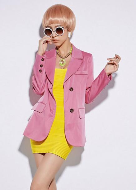 jacket suit cute pink coat cardigan outerwear blazer clothes top fashion