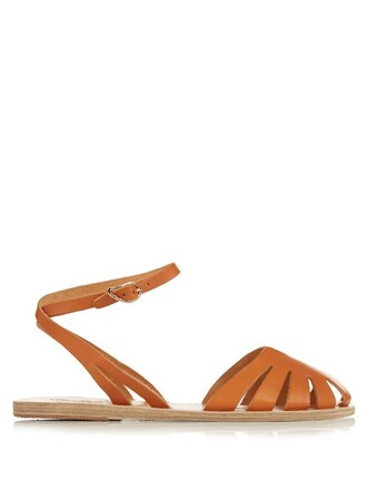 cut-out sandals leather sandals leather tan shoes