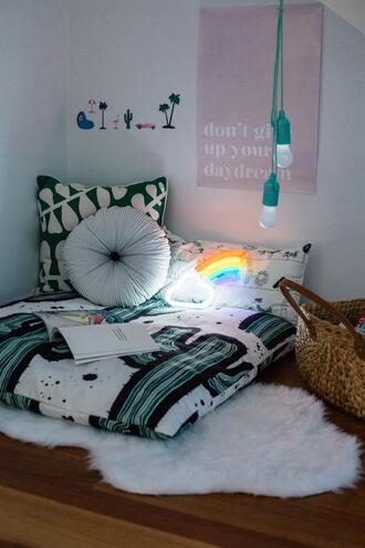 home accessory home decor home furniture wall decor decoration light rainbow cactus pillow