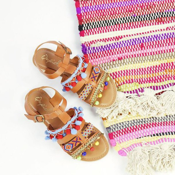 90be972f3e17d shoes beaded sandals tassle pom pom sandals trendy fashion bright sandals  playful trendy cute sandals urban