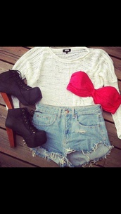 shorts,pink,blue shorts,high heels,sweater,white,shirt,t-shirt,pants,shoes,swimwear,tank top,jeffrey campbell,underwear,white sweater,maroon bandeau,High waisted shorts,black lace up heels,heels