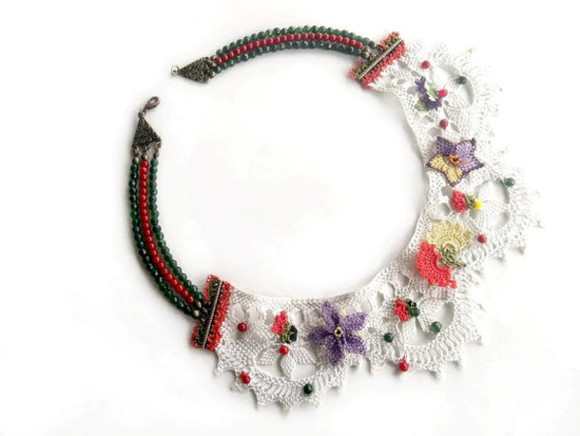 embroidered jewels collar needle lace vintage jewelry necklace valentines day gift idea gift