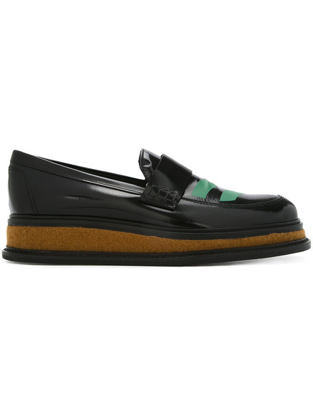 Joshua Sanders women plastic loafers leather print suede black shoes
