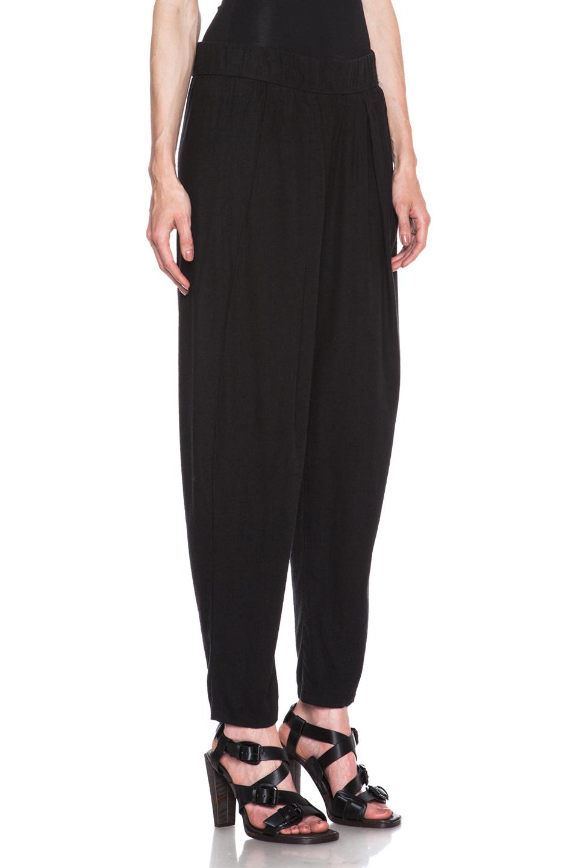 Raquel Allegra|Slub Easy Silk Pant in Solid Black