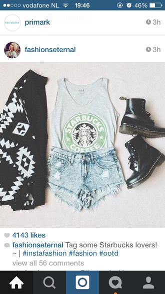 shirt starbucks tops gray tank top shorts cardigan