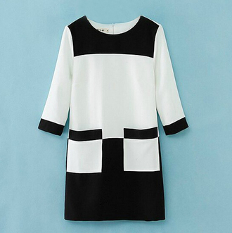dress brenda-shop sale tunic black & white work wear office outfits formal dress three-quarter sleeves