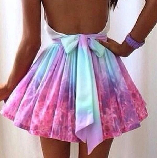 dress galaxy print pastel skirt colorful dress