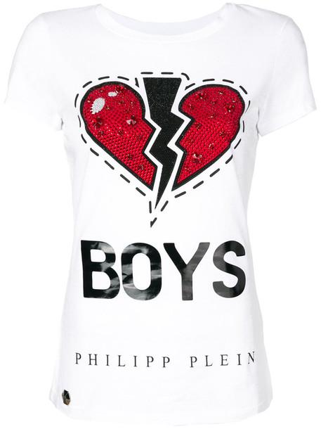 Philipp Plein - Third Avenue T-shirt - women - Cotton/Polyurethane/Aluminium/glass - M, White, Cotton/Polyurethane/Aluminium/glass