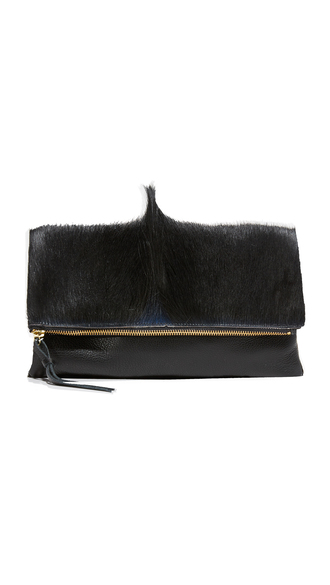 bag furry pouch faux fur fur black pouch leather pouch