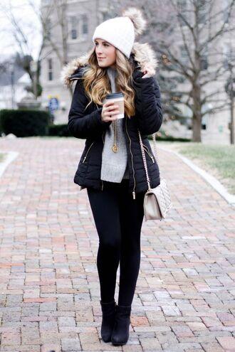 jacket white beanie black puffer jacket black leggings grey sweater blogger