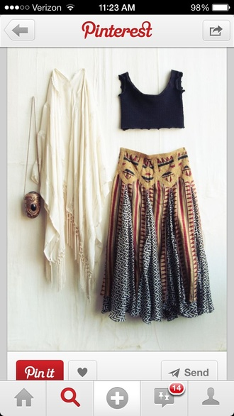skirt coat indie tank top bag jacket yellow black red maxi skirt boho bohemian vintage boho chic cute skirt top shawl hippie gypsy