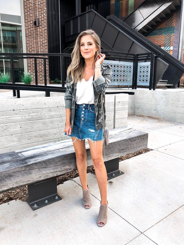 thedaintydarling blogger jacket skirt shoes tank top jewels peep toe boots ankle boots denim skirt camo shirt