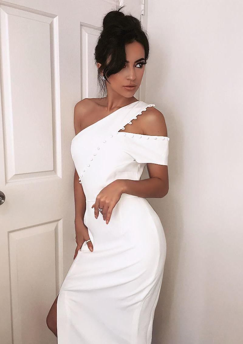 Asymmetric Bardot Midi Bandage Dress White