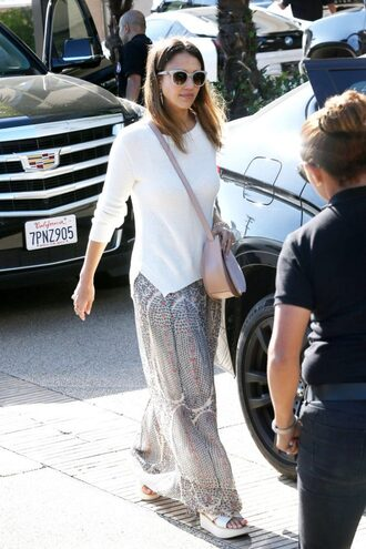 skirt maxi skirt jessica alba sweater top sunglasses spring spring outfits