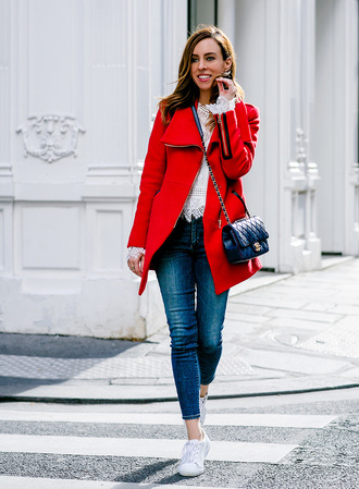 sydne summer's fashion reviews & style tips blogger coat top jeans bag jewels shoes red coat chanel bag crossbody bag skinny jeans sneakers