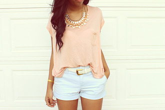 pants cute belt shorts girly blue shorts orange top necklace tanned jewels top blouse